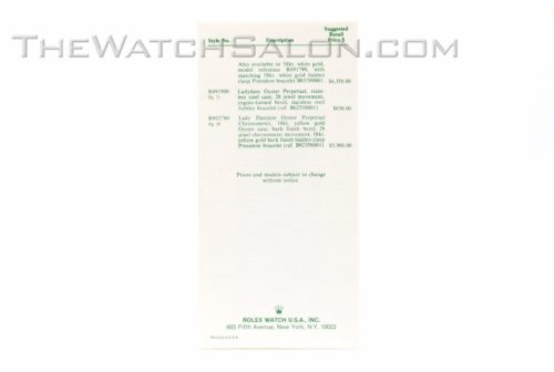 rolex oyster price list booklet 1980