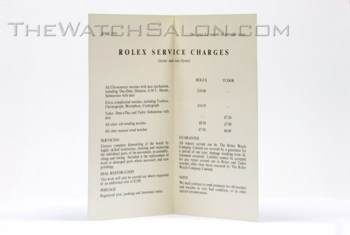 rolex service charge booklet 1971