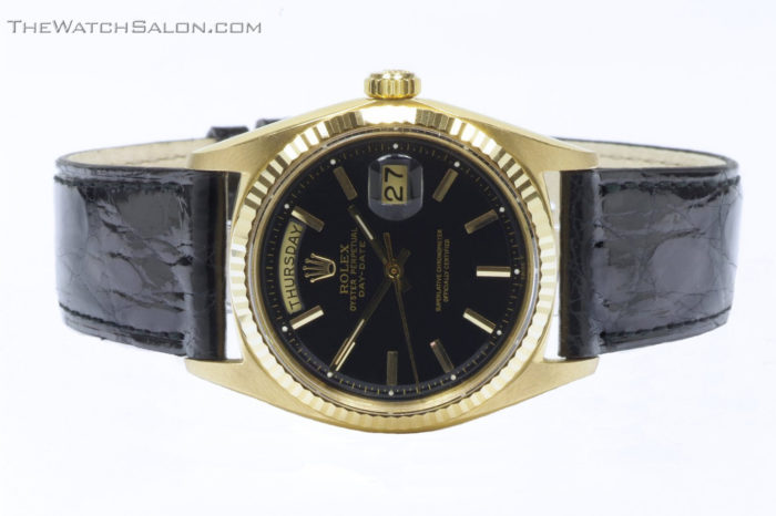 Rolex 18k gold president day date watch 1969 r56 front